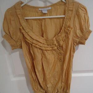 Charlotte Russe Gold Top Shirt Women Medium Ruffle
